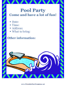 Flyer For Pool Party