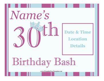 30th Birthday Party Flyer Printable Template