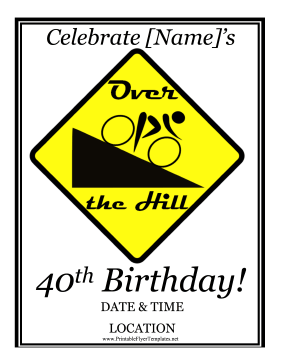 40th Birthday Party Flyer Printable Template