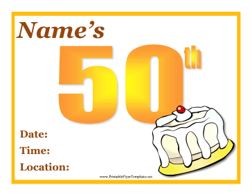 50th Birthday Party Flyer Printable Template