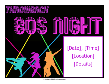 80s Night Flyer Printable Template