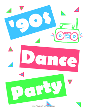 90s Dance Flyer Printable Template