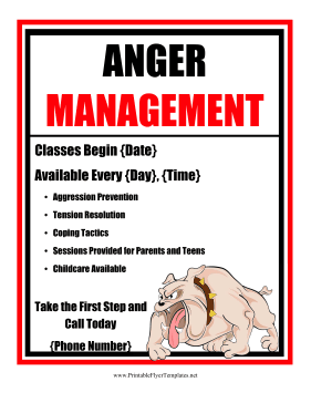 Anger Management Flyer Printable Template