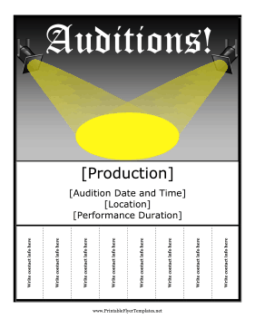 Auditions Flyer Printable Template