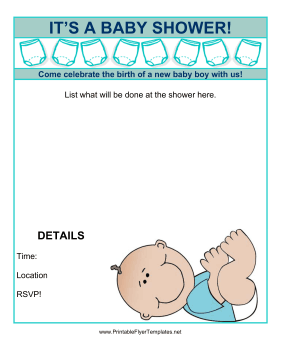 Perfect Baby Shower Flyer Boy Printable Template  Baby Shower Flyer Template Free