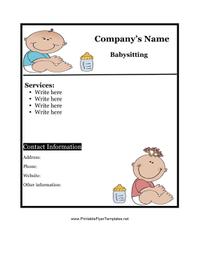 Baby Sitting Flyer Color Printable Template