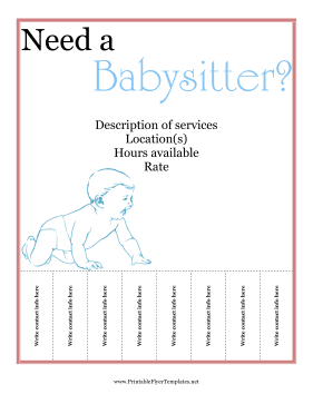Babysitter Flyer Printable Template
