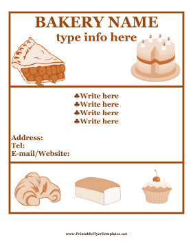 Bakery Flyer Printable Template