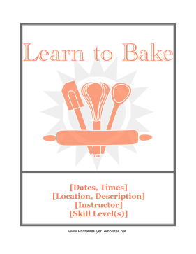 Baking Class Flyer Printable Template