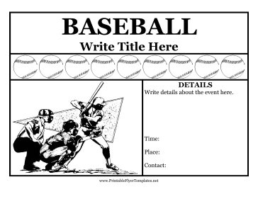 Baseball Flyer Printable Template
