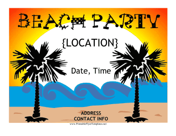 Beach Party Flyer Printable Template