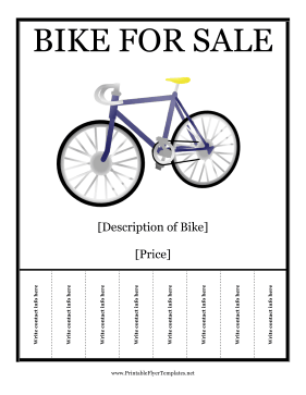 Bike for Sale Printable Template