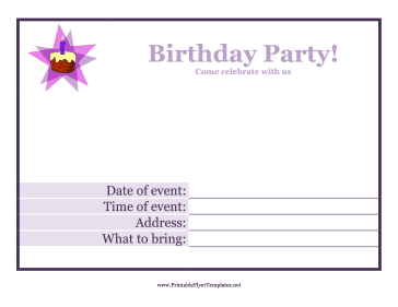 Birthday Party Flyer Printable Template