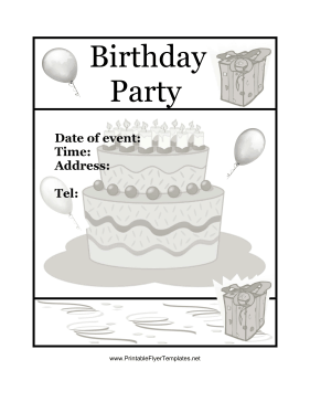 Birthday Party Flyer Cake Printable Template