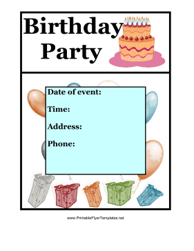 Birthday Party Flyer Color Printable Template