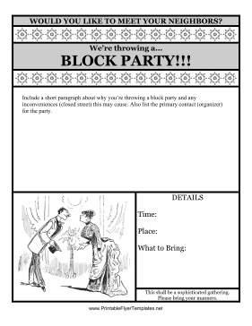 Block Party Flyer Printable Template