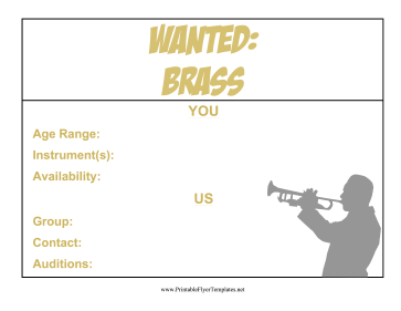 Brass Wanted Flyer Printable Template