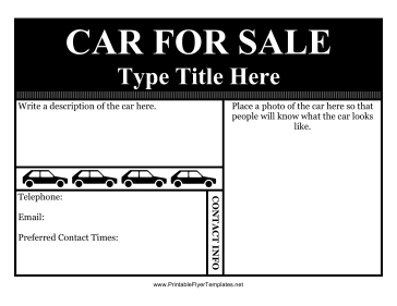 Car For Sale Flyer Printable Template