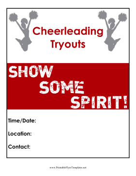 Cheerleading Tryouts Flyer Printable Template