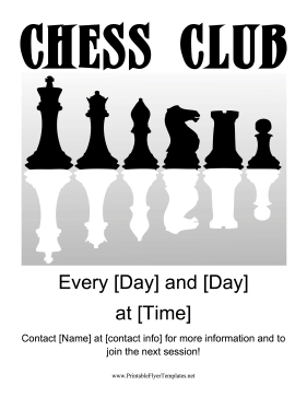 Chess Club Flyer Printable Template