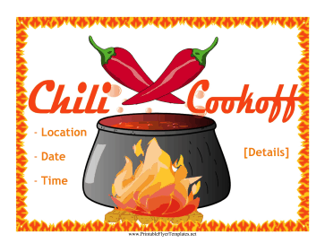 Chili Cook-Off Flyer Printable Template