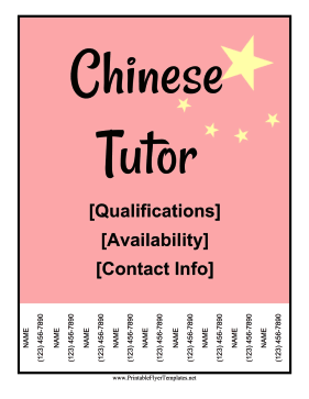 Chinese Tutor Flyer Printable Template