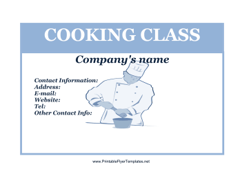Cooking Class Flyer Printable Template