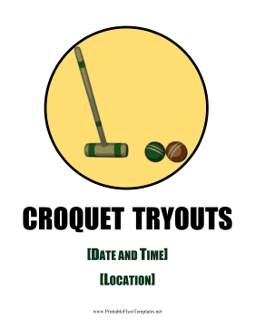 Croquet Tryouts Flyer Printable Template