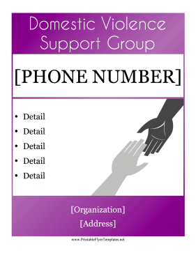 Domestic Violence Support Flyer Printable Template