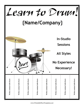 Drum Lesson Flyer Printable Template