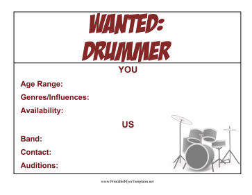 Drummer Wanted Flyer Printable Template