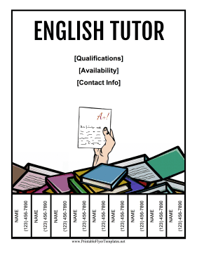 English Tutor Flyer Printable Template