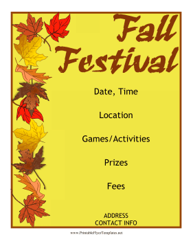 Fall Festival Flyer Printable Template  Event Flyer Template Word