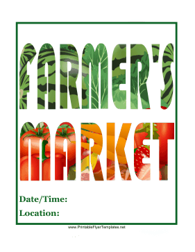 Farmers Market Flyer Printable Template