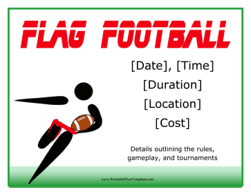 Flag Football Flyer Printable Template