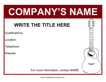 Flyer For Guitar Lessons Printable Template