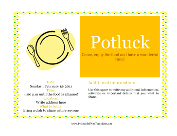 Flyer For Potluck Printable Template