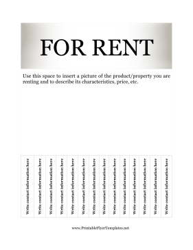 Flyer For Rent Printable Template