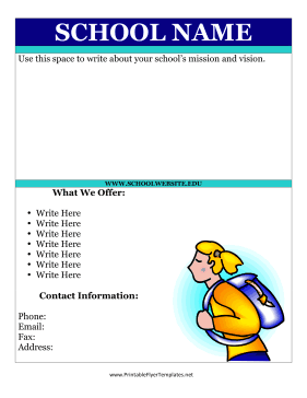 Flyer For School Printable Template