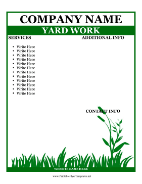 Flyer For Yard Work Printable Template