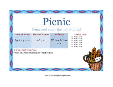 Flyer Template Picnic Printable Template