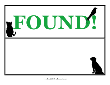 Found Pet Flyer Printable Template
