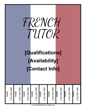 French Tutor Flyer Printable Template