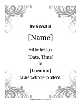 Funeral Announcement Flyer Printable Template