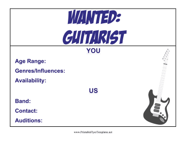 Guitarist Wanted Flyer Printable Template