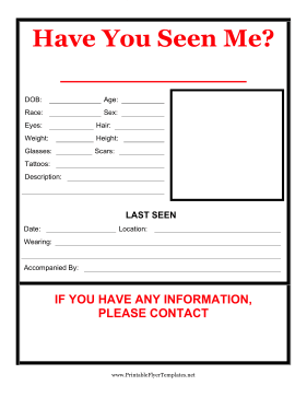 Have You Seen Me Flyer Printable Template