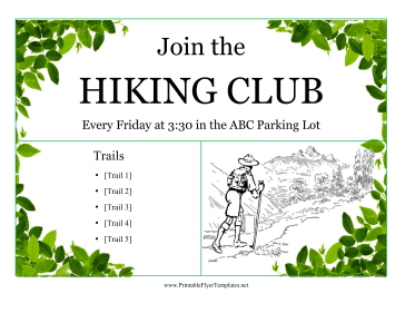 Hiking Club Flyer Printable Template