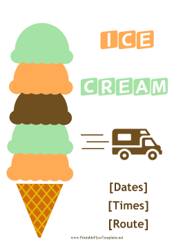 Ice Cream Truck Flyer Printable Template