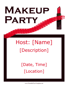 Makeup Party Flyer Printable Template