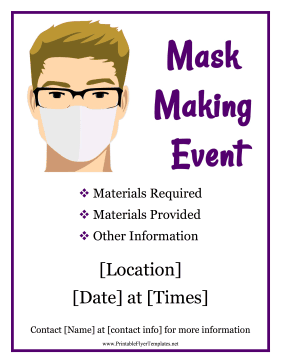Mask-Making Event Printable Template